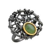 Кольцо с янтарем (нефритом), серебро с позолотой и чернением
