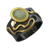 Кольцо Джунгли с малахитом (нефритом), серебро с позолотой и чернением