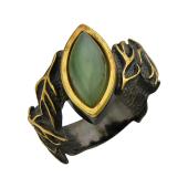 Кольцо Росток с бирюзой (малахитом), серебро с позолотой и чернением