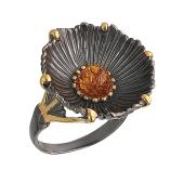 Кольцо Чаша с янтарем (бирюзой, малахитом), серебро с позолотой и чернением