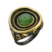 Кольцо с янтарем (бирюзой, малахитом), серебро с позолотой и чернением