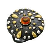 Кольцо с янтарем (малахитом, нефритом), серебро с позолотой и чернением