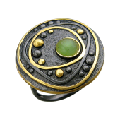 Кольцо с янтарем (бирюзой, малахитом, нефритом), серебро с позолотой и чернением
