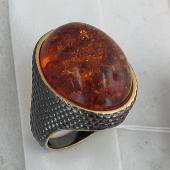 Кольцо змеиное с янтарем, серебро с чернением и позолотой