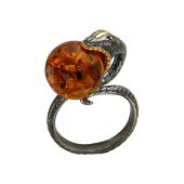 Кольцо Змея с янтарем из серебра с чернением и позолотой
