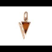 Кулон с треугольным янтарем, красное золото