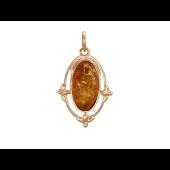 Кулон Овальный с большим янтарем, красное золото