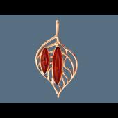 Кулон Листок с овальным янтарем, серебро