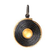 Кулон с нефритом (малахитом, янтарем) из серебра с чернением и позолотой