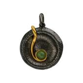 Кулон с нефритом (малахитом) из серебра с чернением и позолотой