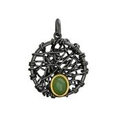 Кулон круглый вязаный с нефритом (янтарем) из серебра с чернением и позолотой
