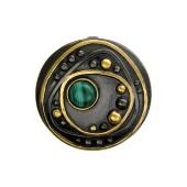 Кулон круглый с малахитом (бирюзой) из серебра с чернением и позолотой