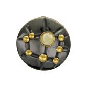 Кулон круглый с малахитом (янтарем) из серебра с чернением и позолотой