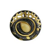 Кулон круглый с янтарем, серебро с чернением и позолотой