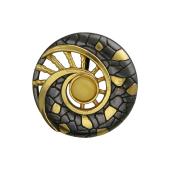 Кулон Раковина с янтарем из серебра с чернением и позолотой