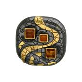 Кулон этнический с янтарем из серебра с чернением и позолотой
