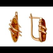 Серьги с овальным янтарем, красное золото