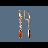 Серьги длинные с овальным янтарем, серебро с золотым покрытием