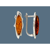 Серьги с овальным янтарем, серебро