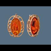 Серьги с овальным янтарем, серебро с золотым покрытием