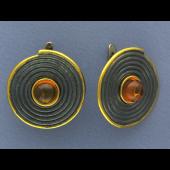 Серьги с янтарем, малахитом и нефритом из серебра 925 пробы с позолотой и чернением