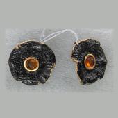 Серьги с янтарем и бирюзой из серебра 925 пробы с позолотой и чернением