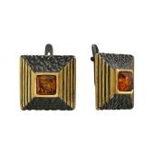 Серьги квадратные с янтарем, серебро с чернением и позолотой
