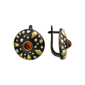 Серьги круглые с малахитом, янтарем из серебра 925 пробы с чернением и позолотой