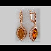 Серьги с янтарем, серебро с золотым покрытием