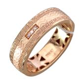 Кольцо с девятью фианитами, волнами и греческим орнаментом, красное золото
