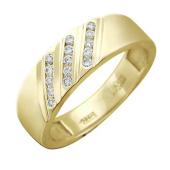 Кольцо, желтое золото 585 проба, три полоски бриллиантов по диагонали