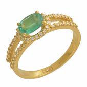 Кольцо с бриллиантами и овальным изумрудом, желтое золото 750 проба