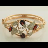 Гранатовый браслет с бриллиантами, красное и белое золото
