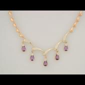 Колье Капли с аметистами и бриллиантами, красное и белое золото
