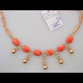 Колье с кораллом (бирюзой) и бриллиантами, красное и белое золото