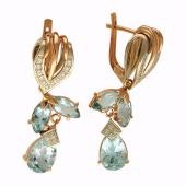 Серьги Цветочные с бриллиантами и гранатами (топазами), комбинированное золото