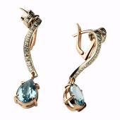 Серьги Лента с бриллиантами и топазами, комбинированное золото