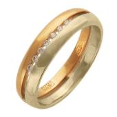 Кольцо с семью бриллиантами, красное и белое золото