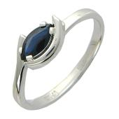 Кольцо с сапфиром Маркиз, белое золото