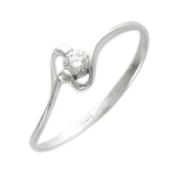 Кольцо с бриллиантом, волнистая линия, белое золото
