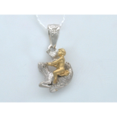 Подвеска, знак зодиака Козерог, бриллиант, комбинированное золото, 585 пробы