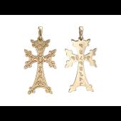 Крест армянский без распятия с орнаментом, желтое золото 35 мм