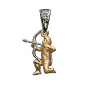 Подвеска, знак зодиака Стрелец, бриллиант, комбинированное золото, 585 пробы
