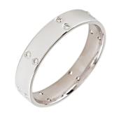Обручальное кольцо с бриллиантами по всей шинке парами, белое золото, 585 пробы (чёрные/прозрачные бриллианты) 4мм
