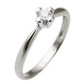 Кольцо для помолвки с одним бриллиантом, крепление принцесса, белое золото 750 проба