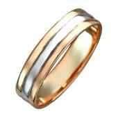 Обручальное кольцо двусплавное, в центре полоса белого золота, по краям красное золото