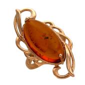 Кольцо с овальным янтарем, красное золото