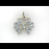 Подвеска Бабочка с голубыми фианитами маркиз, серебро