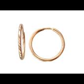 Серьги Конго-Кольца с алмазными гранями, красное золото 10 мм