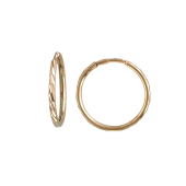 Серьги Конго-Кольца с алмазными гранями двойными, красное золото 15 мм